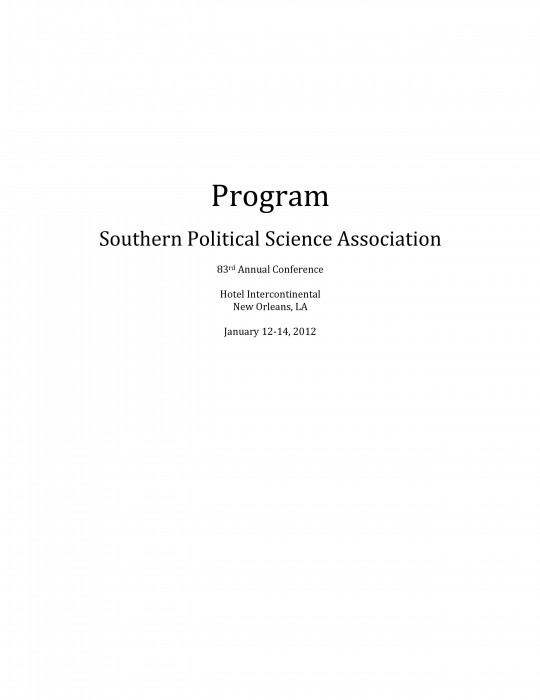 Past Conference Programs Southern Political Science Association